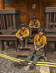 Stanislaus National Forest Engine Crew E345 from Goveland, California protects house in Wawona.<br /> After hearing the news that the South Fork Fire was 1/4 mile from Wawona, I went back to the fire to see what was happening.  Most of the fire activity last night and this morning early were near Chilnualna Falls Road.  It looked to me that the firefighters had done their jobs.   Structure protection was in place with lots of engine and hose lays all over the place.  I decided to photograph Firefighters today Monday, August 21, 2017.  Photo by Al Golub/Golub Photography.