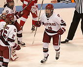 Lexie Laing (Harvard - 16), Haley Mullins (Harvard - 26) - The Harvard University Crimson tied the Boston University Terriers 6-6 on Monday, February 7, 2017, in the Beanpot consolation game at Matthews Arena in Boston, Massachusetts.