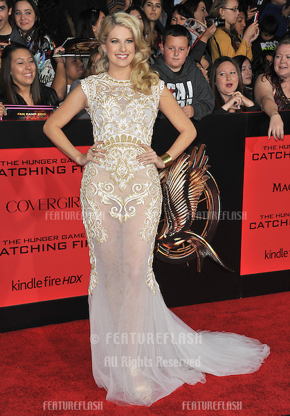 Stephanie Leigh Schlund at the US premiere of her movie &quot;The Hunger Games: Catching Fire&quot; at the Nokia Theatre LA Live.<br /> November 18, 2013  Los Angeles, CA<br /> Picture: Paul Smith / Featureflash