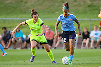 Piscataway, NJ - Sunday June 19, 2016: Tasha Kai, Rachel Corsie during a regular season National Women's Soccer League (NWSL) match between Sky Blue FC and Seattle Reign FC at Yurcak Field.