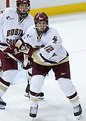 Ben Smith 12 of Boston College helps defend the Eagle net. The Eagles of Boston College defeated the Falcons of Bowling Green State University 5-1 on Saturday, October 21, 2006, at Kelley Rink of Conte Forum in Chestnut Hill, Massachusetts.<br />
