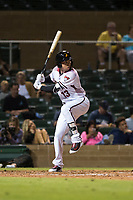 Salt River Rafters third baseman Drew Ellis (13), of the Arizona Diamondbacks organization, at bat during an Arizona Fall League game against the Scottsdale Scorpions at Salt River Fields at Talking Stick on October 11, 2018 in Scottsdale, Arizona. Salt River defeated Scottsdale 7-6. (Zachary Lucy/Four Seam Images)