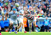 Sam Harrison of Leicester Tigers passes the ball. Aviva Premiership match, between Leicester Tigers and Bath Rugby on September 25, 2016 at Welford Road in Leicester, England. Photo by: Patrick Khachfe / Onside Images