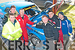 5960-5962.---------.Flat to the mat.---------------.Lisellton crew Tommy Mason&Podge Doody(centre)with their service mechanics,Kieran&TP McNamara(Lt) and David Lucid&Mike Costelloe(Rt) at the service in the mart Kenmare last Sunday for the Historic stages rally.