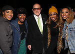 "Rashidra Scott, Nasia Thomas, Clive Davis, Candice Woods and Taylor Symone Jackson backstage after a performance of ""Ain't Too Proud"" at the Imperial Theatre on April 11, 2019 in New York City."
