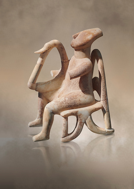 The 'Harpist of Keros' a seated parian marble female Cycladic figurine. Early Cycladic Period II (2800-2300 BC) from Keros, Cat no 3908. National Archaeological Museum, Athens. <br /> <br /> This elaborate three dimesional Cyladic statue known as the 'Harpist of Keros' depicts a seated figure plaung a harp. Its execution required an experienced workshop that could file away the parian marble with gronze tools.