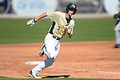 Central Florida Knights infielder Kam Gellinger (3) during a game against the Siena Saints at Jay Bergman Field on February 16, 2014 in Orlando, Florida.  UCF defeated Siena 9-6.  (Copyright Mike Janes Photography)