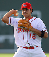 4 June 2007: Manny Arambarris of the Greenville Drive, Class A South Atlantic League affiliate of the Boston Red Sox, in a game against the Kannapolis Intimidators at West End Field in Greenville, S.C. Photo by:  Tom Priddy/Four Seam Images