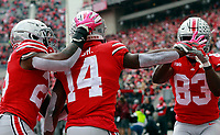 Ohio State Buckeyes wide receiver K.J. Hill Jr. (14) celebrates his touchdown in the first half of their game at Ohio Stadium in Columbus, Ohio on October 13, 2018. [ Brooke LaValley / Dispatch ]
