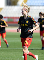 20180228 - LARNACA , CYPRUS :  Belgian Justine Vanhaevermaet  pictured during warming up of the women's soccer game between The Belgian Red Flames and the Czech Republic , on wednesday 28 February 2018 at GSZ Stadium in Larnaca , Cyprus . This is the first game in group B for Belgium during the Cyprus Womens Cup , a prestigious women soccer tournament as a preparation on the World Cup 2019 qualification duels. PHOTO SPORTPIX.BE | DAVID CATRY