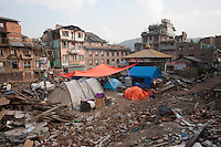 A makeshift tent camp in Shanku near Kathmandu, Nepal. May 9, 2015
