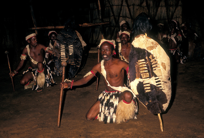 Tribesmen perform dance, Victoria Falls, Matabeleland North Province, Zimbabwe, Africa
