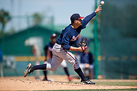 Atlanta Braves pitcher Dilmer Mejia (79) during a minor league Spring Training game against the Pittsburgh Pirates on March 13, 2018 at Pirate City in Bradenton, Florida.  (Mike Janes/Four Seam Images)