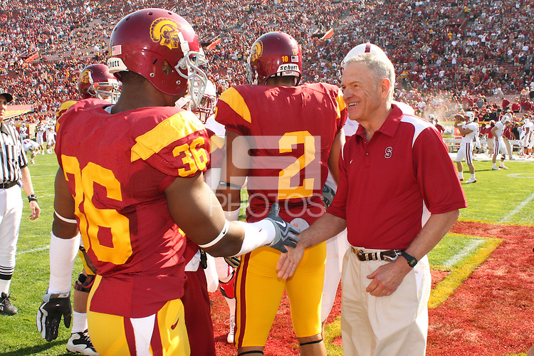 LOS ANGELES, CA - NOVEMBER 14:  Honorary captain of the game Brad Freeman during Stanford's 55-21 win over the USC Trojans on November 14, 2009 at the Los Angeles Coliseum Stadium in Los Angeles, California.