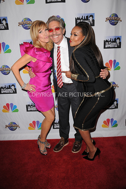 WWW.ACEPIXS.COM<br /> February 16, 2015 New York City<br /> <br /> Leeza Gibbons, Geraldo Rivera and Vivica A. Fox arriving to the Celebrity Apprentice Finale viewing party and post show red carpet on February 16, 2015 in New York City.<br /> <br /> Please byline: Kristin Callahan/AcePictures<br /> <br /> ACEPIXS.COM<br /> <br /> Tel: (646) 769 0430<br /> e-mail: info@acepixs.com<br /> web: http://www.acepixs.com