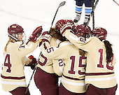 Emily Pfalzer (BC - 14), Jackie Young (BC - 25), Emily Field (BC - 15), Ashley Motherwell (BC - 18) - The Boston College Eagles defeated the visiting University of Maine Black Bears 10-0 on Saturday, December 1, 2012, at Kelley Rink in Conte Forum in Chestnut Hill, Massachusetts.