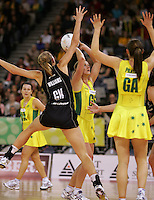 21.07.2007 Australia's Sharelle McMahon in action during the Silver Ferns v Australia Netball Test Match at Vodafone Arena, Melbourne Australia. The Silver Ferns won 67-65 after double extra time. Mandatory Photo Credit ©Michael Bradley. **$150 + GST USAGE FEE DOES APPLY**