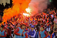 MELBOURNE, AUSTRALIA - JUNE 7: Serbian fans let off a flare during an international friendly match between the Qantas Australian Socceroos and Serbia at Etihad Stadium on June 7, 2011 in Melbourne, Australia. Photo by Sydney Low / AsteriskImages.com