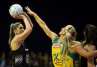 12.10.2016 Silver Ferns Te Paea Selby-Rickit and Australia's Sharni Layton in action during the Silver Ferns v Australia netball test match played at the Silver Dome in Launceston in Australia.. Mandatory Photo Credit ©Michael Bradley.