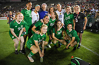 PASADENA, CALIFORNIA - August 03: USWNT and Ireland group photo during their international friendly and the USWNT Victory Tour match between Ireland and the United States at the Rose Bowl on August 03, 2019 in Pasadena, CA.