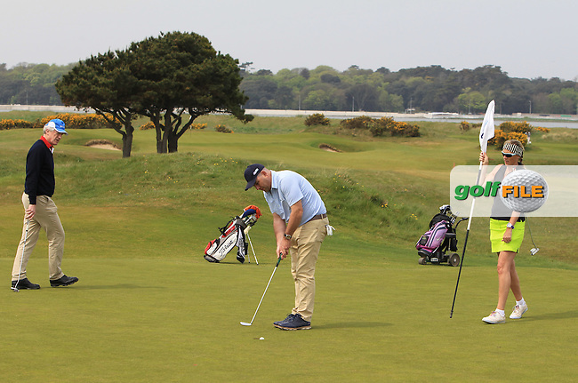 Gary Murphy (Flogas Ambassador and former European Tour player) on the 7th green during the Flogas Irish Amateur Open Championship Am-Am at Royal Dublin on Monday 9th May 2016.<br /> Picture:  Thos Caffrey / www.golffile.ie