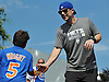 David Wright, New York Mets captain, slaps hands with a fan during a visit to Coleman Country Day Camp in Merrick on Monday, Aug. 8, 2016.