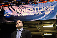 ST. LOUIS, MO - MARCH 17: Head coach Cael Sanderson of the Penn State Nittany Lions waits in the tunnel before his wrestler's match during the NCAA Wrestling Championships on March 17, 2012 at the ScottTrade Center in St. Louis, Missouri. (Photo by Hunter Martin/Getty Images) *** Local Caption *** Cael Sanderson