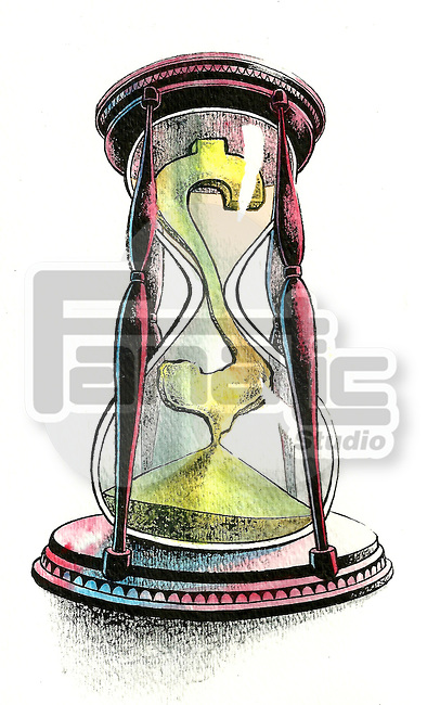 Illustrative image of dollar sign declining in hourglass representing time is money
