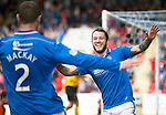 St Johnstone v Dundee United...19.04.14    SPFL<br /> Stevie May celebrates his goal with Dave Mackay<br /> Picture by Graeme Hart.<br /> Copyright Perthshire Picture Agency<br /> Tel: 01738 623350  Mobile: 07990 594431