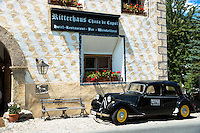Old Citroen car at Ritterhaus Chasa de Capol Hotel, Restaurant and Bar  Santa Maria Val Mustair, Switzerland