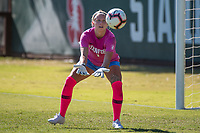 STANFORD, CA - OCTOBER 12: Lauren Rood #1 of the Stanford Cardinal during a game between the Stanford Cardinal and Washington Huskies women's soccer teams at Cagan Stadium on October 6, 2019 in Stanford, California. during a game between University of Washington and Stanford Soccer W at Laird Q. Cagan Stadium on October 12, 2019 in Stanford, California.