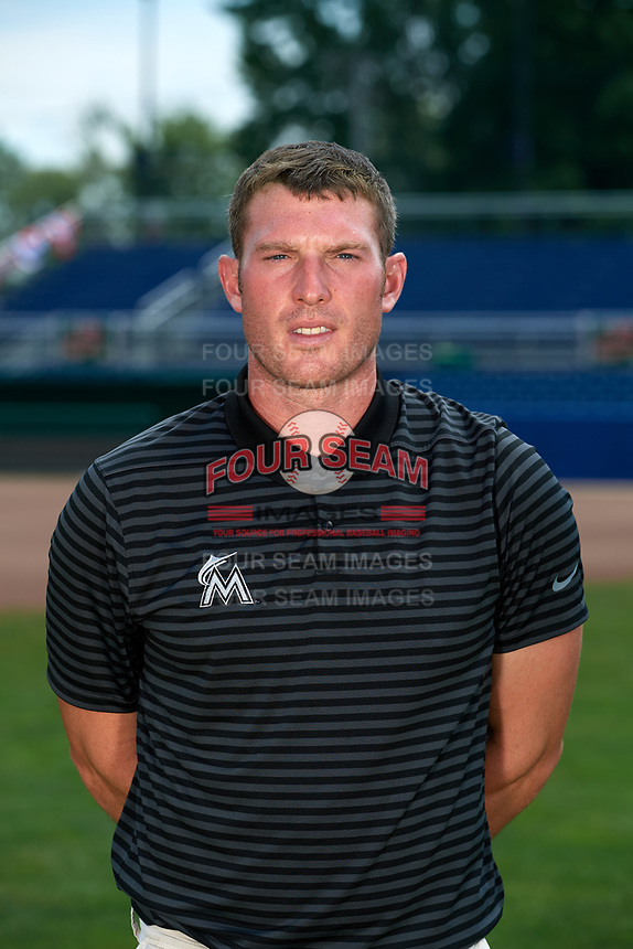 Batavia Muckdogs strength and conditioning coach Spencer Clevenger poses for a photo on July 2, 2018 at Dwyer Stadium in Batavia, New York.  (Mike Janes/Four Seam Images)