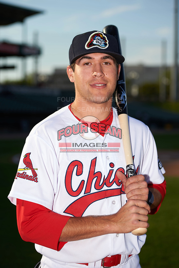 Peoria Chiefs Dylan Carlson (5) poses for a photo before a game against the West Michigan Whitecaps on May 8, 2017 at Dozer Park in Peoria, Illinois.  West Michigan defeated Peoria 7-2.  (Mike Janes/Four Seam Images)