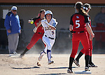 Western Nevada College's Meghan Hospodka goes to second in a game against Colorado Northwestern Community College at Edmonds Sports Complex in Carson City,Nev., on Friday, Feb. 21, 2014. Western swept the doubleheader 10-2 and 7-2.<br /> Photo by Cathleen Allison/Nevada Photo Source