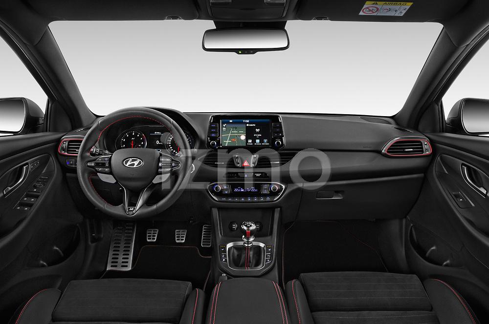 Stock photo of straight dashboard view of 2019 Hyundai i30-Fastback-N Performance-Pack 5 Door Hatchback Dashboard