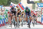 Green Jersey Alejandro Valverde (ESP) Movistar Team passes World Champion Peter Sagan (SVK) Bora-Hansgrohe to win Stage 8 of the La Vuelta 2018, running 195.1km from Linares to Almaden, Spain. 1st September 2018.<br /> Picture: Unipublic/Photogomezsport | Cyclefile<br /> <br /> <br /> All photos usage must carry mandatory copyright credit (&copy; Cyclefile | Unipublic/Photogomezsport)