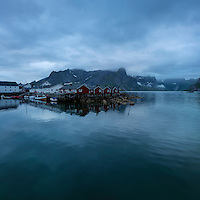 Traditional Rorbuer coastal cabins at Hamnøy, Lofoten Islands, Norway