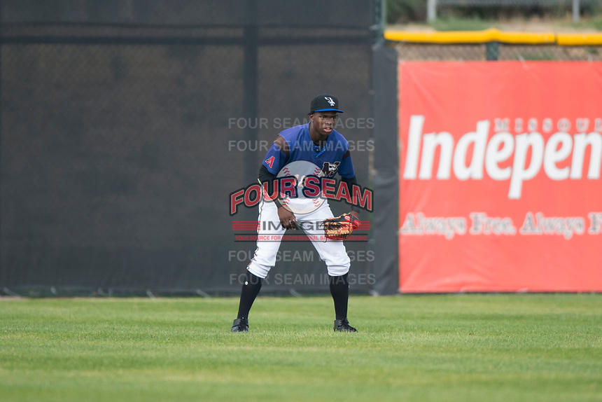 Missoula Osprey center fielder Kristian Robinson (18) during a Pioneer League game against the Orem Owlz at Ogren Park Allegiance Field on August 19, 2018 in Missoula, Montana. The Missoula Osprey defeated the Orem Owlz by a score of 8-0. (Zachary Lucy/Four Seam Images)