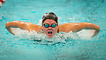 NAUGATUCK ,  CT-101019JS11- Naugatuck's Katelyn Fortney competes in the 100 Yard Butterfly during their meet with Seymour Friday at Naugatuck High School. <br /> Jim Shannon Republican-American
