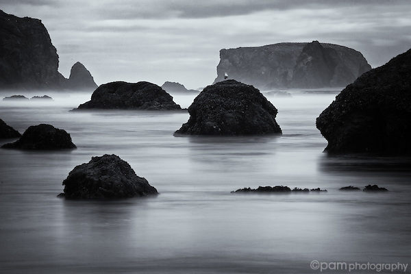 Black and white of rock formations at Bandon Beach in Oregon