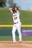 Mesa Solar Sox relief pitcher Brett Hanewich (53), of the Los Angeles Angels organization, gets ready to deliver a pitch during an Arizona Fall League game against the Salt River Rafters at Sloan Park on October 30, 2018 in Mesa, Arizona. Salt River defeated Mesa 14-4 . (Zachary Lucy/Four Seam Images)