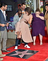 LOS ANGELES, CA. March 25, 2019: Jon Huertas, Sterling K. Brown, Mandy Moore, Justin Hartley, Chrissy Metz & Susan Kelechi Watson at the Hollywood Walk of Fame Star Ceremony honoring actress & singer Mandy Moore.<br /> Pictures: Paul Smith/Featureflash