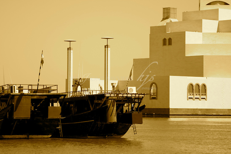 Dhow. traditional Qatari boats in front of the Museum of Islamic Art, Doha, Qatar | Sept 09