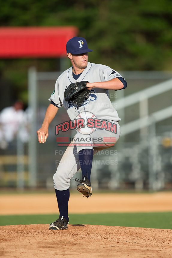 Princeton Rays relief pitcher Garrett Anderson (19) in action against the Danville Braves at American Legion Post 325 Field on June 25, 2017 in Danville, Virginia.  The Braves walked-off the Rays 7-6 in 11 innings.  (Brian Westerholt/Four Seam Images)