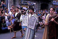 "Septennial feast of Battenti Guardia Sanframondi Campania Italy.Mysteries: the four quarters of the town each organize a parade of ""mysteries"" (religious scenes) with characters in costume from the Old Testament, New Testament, and Lives of Saints.."