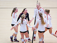 STANFORD, CA - November 4, 2018: Morgan Hentz, Meghan McClure, Kate Formico, Kathryn Plummer, Jenna Gray, Holly Campbell at Maples Pavilion. No. 2 Stanford Cardinal defeated the Utah Utes 3-0.