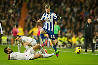Real Madrid´s Alvaro Arbeloa and Deportivo de la Coruna's Luisinho during 2014-15 La Liga match between Real Madrid and Deportivo de la Coruna at Santiago Bernabeu stadium in Madrid, Spain. February 14, 2015. (ALTERPHOTOS/Luis Fernandez) /NORTEphoto.com