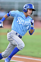 Burlington Royals shortstop Nicky Lopez (4) runs to first base during game against the Elizabethton Twins at Joe O'Brien Field on August 24, 2016 in Elizabethton, Tennessee. The Royals defeated the Twins 8-3. (Tony Farlow/Four Seam Images)