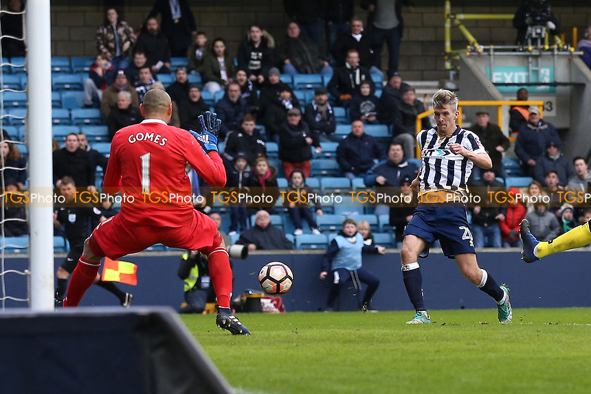 Steve Morison of Millwall scores the first goal for his team during Millwall vs Watford, Emirates FA Cup Football at The Den on 29th January 2017