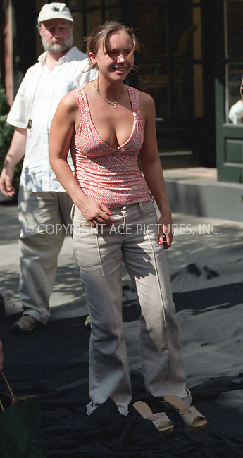 Christina Ricci on the set of Woody Allen's new movie on Bleecker Street in the West Village, New York. June 28, 2002. Please byline: Alecsey Boldeskul/NY Photo Press.   ..*PAY-PER-USE*      ....NY Photo Press:  ..phone (646) 267-6913;   ..e-mail: info@nyphotopress.com